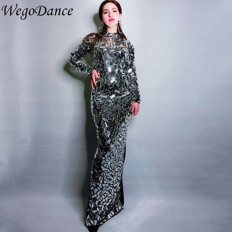 Nouveau Design femmes soirée anniversaire robes strass Costume lumineux plein miroirs longue robe de bal célébrer gris Bling