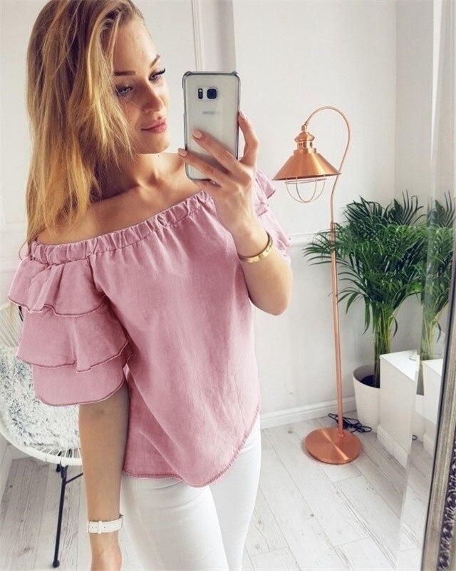 2018 casual summer women  tee new womens female sexy off shoulder short sleeve t shirt slash neck strapless chiffon t-shirts