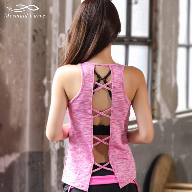 2017 Women's Tank Tops Quick Dry Sleeveless Gym Yoga Shirts Tank Top Woman Back Cross Fitness Hollow Out Summer Sport Vest