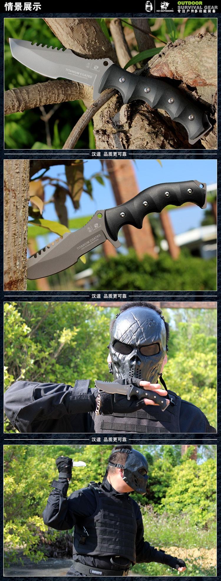 Купить HX На Открытом Воздухе Выживания Охотник Нож Karambit Тактический Отдых На Природе Охота Ножи 100% 440C Фиксированной Холодного Лезвия Прямой Нож EDC дешево