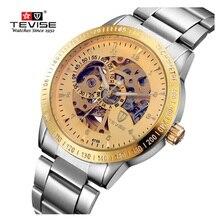Marca de fábrica famosa de Los Hombres Mecánicos Relojes TEVISE Marca de Lujo Impermeable Hueco Reloj Grande Del Dial Reloj Hombre Reloj Relogio masculino