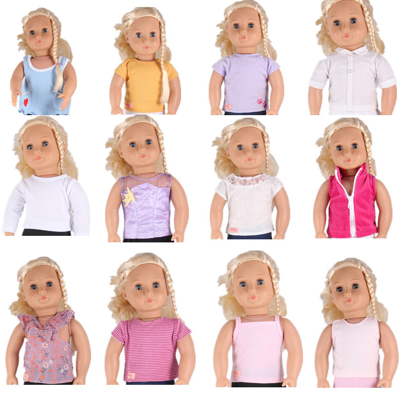 45CM American Doll Accessories 12 Styles T-shirt Tank Top American Girl Doll Clothes For 18 Inch Doll And More american girl doll clothes halloween witch dress cosplay costume for 16 18 inches doll alexander dress doll accessories x 68