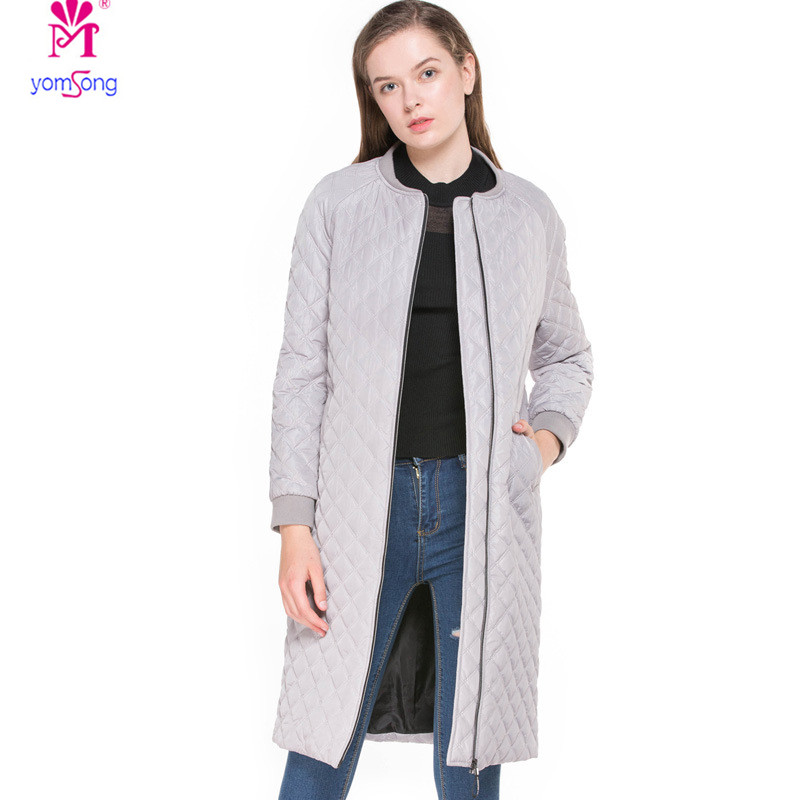 Yomsong New Autumn And Winter Zippered Cotton Clothing Long Ladies Cotton Coat 3065