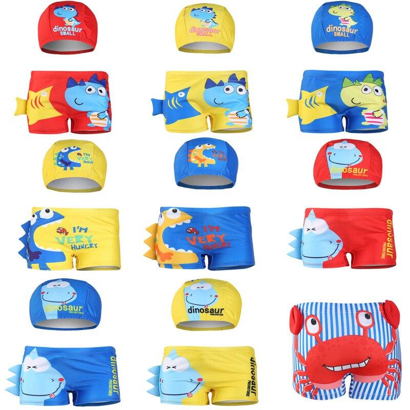 Boy Swimwear Ages 1 to 10 Children Cartoon Diansours Summer Swimming Trunk Swim Shorts Printed Toddler Boy Swimsuit(China)