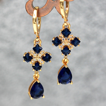 New Waterdrop Pendientes for Women Earring with Navy Zircon Luxury Statement Jewelry Wedding Engagement Gift