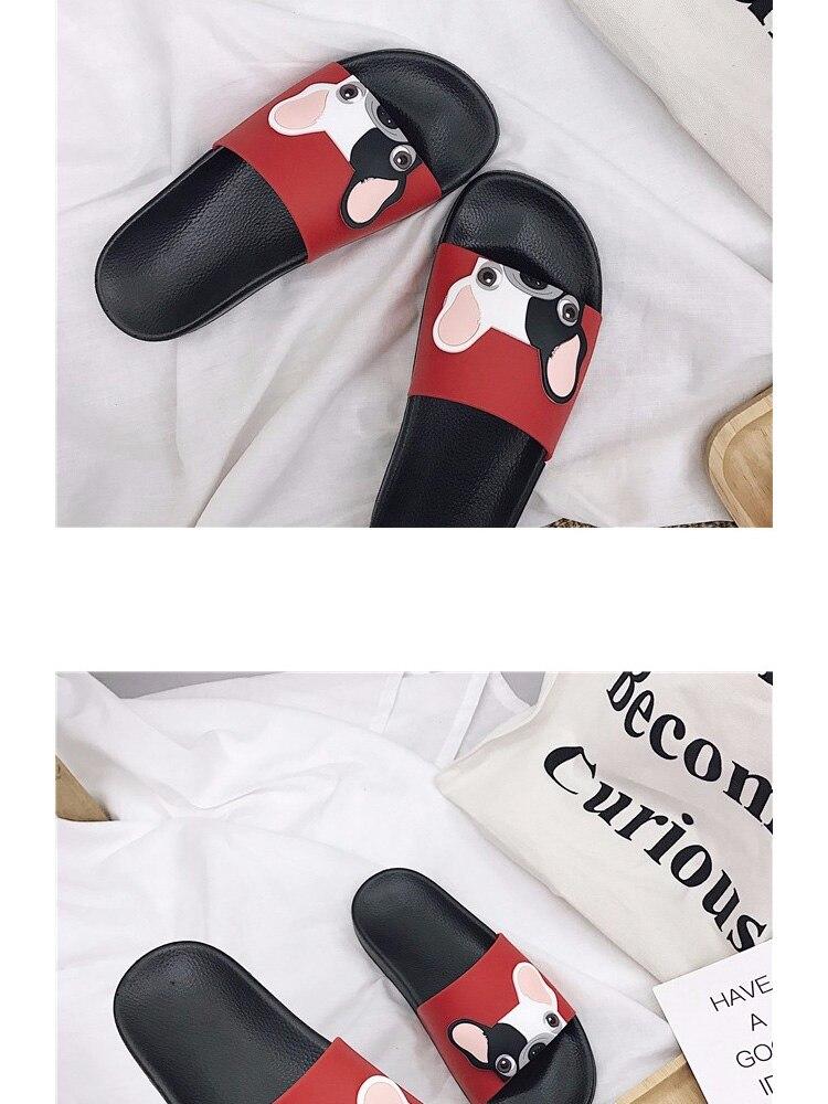 18 Fashion Animal Bulldog Slippers Summer Sandals Beach Flip Flops Skid Indoor Woman Shoes Women Slides zapatillas Mujer 5