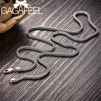 GAGAFEEL 2.8mm Real 925 Sterling Silver Snake Chain Men's Necklaces Vintage Long Necklace Men Jewelry 50cm 55cm 60cm