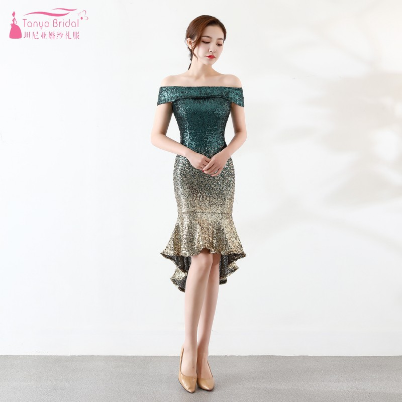 Boat Neck Mermaid Knee Length Sequined Fashion   Bridesmaid     Dresses   long   dress   for wedding party for woman JQ82