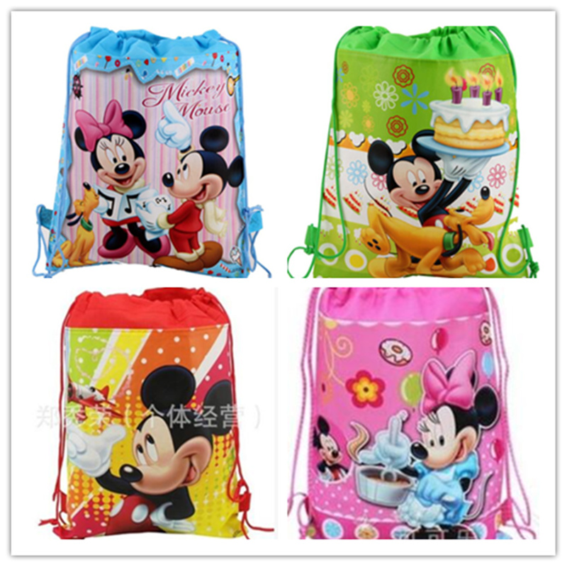 24pcs/lot mix design miceky mouse Drawstring plush Bag school plush bags,mickey mouse minnie mouse cartoon kids Backpacks
