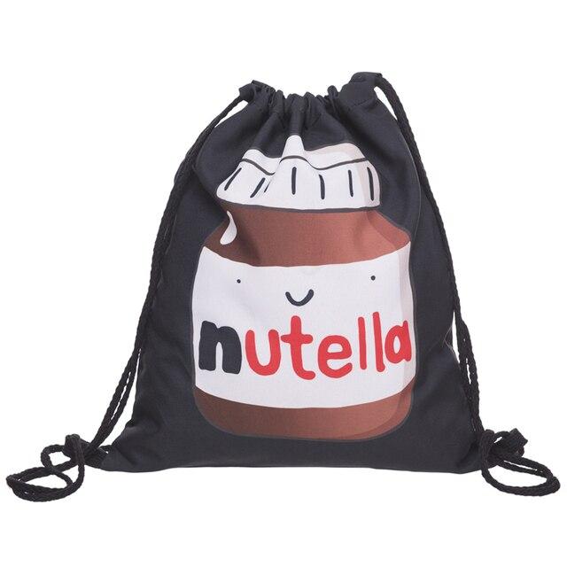 03b3e9566944e Kto Dba Moda Drukowanie 3D Nutella Czarny Mochila Feminina Plecak Kobiety  Mężczyźni codziennie Dorywczo Sznurek Torba