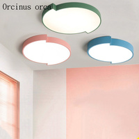 Nordic modern Simple circular ceiling lamp living room bedroom children's roo m color creation LED ceiling lamp free shipping