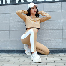 Women Brand Two Piece Set Side Striped Crop Top And Leggings Khaki Fitness Set (Hooded Tops+Pants) Cropped Tracksuit