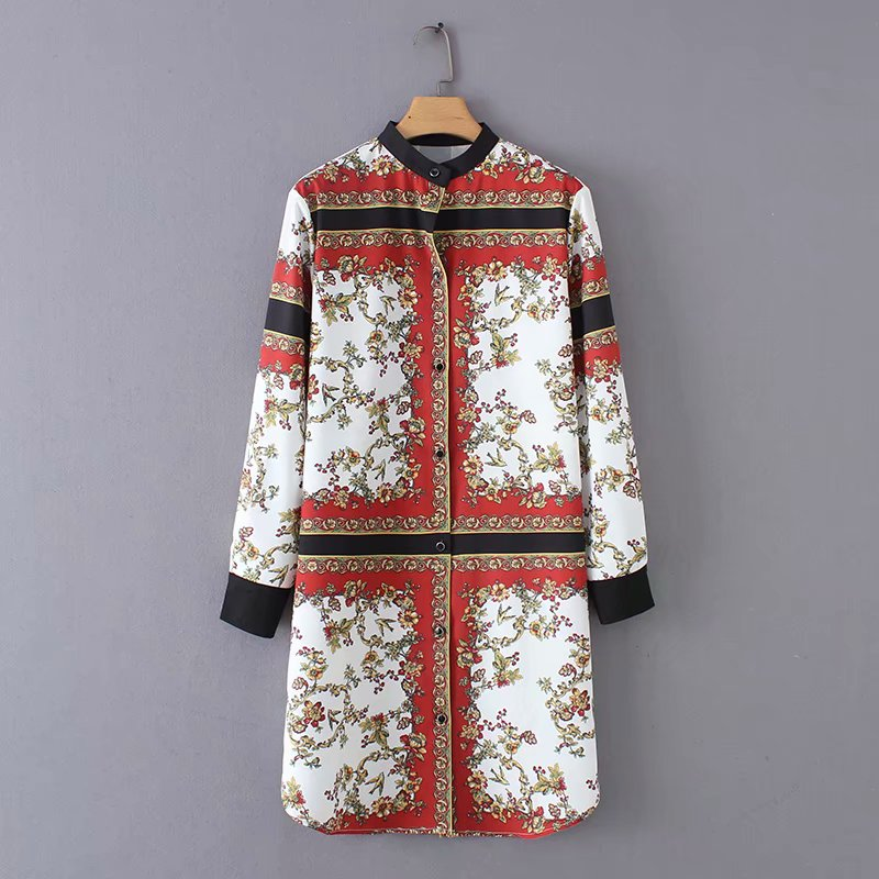 2018 Women Vintage Position Flower Print Patchwork Mini Dress Female Retro Long Sleeve Streetwear Vestidos Chic Dresses DS1388