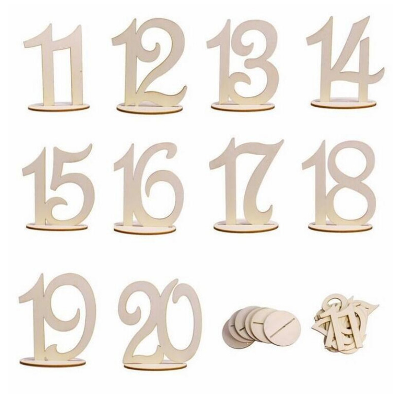 10pcs/set Hot Wooden Numbers Wedding Party Supplies Wedding Place Holder Table Number Figure Card Digital Seat Decoration