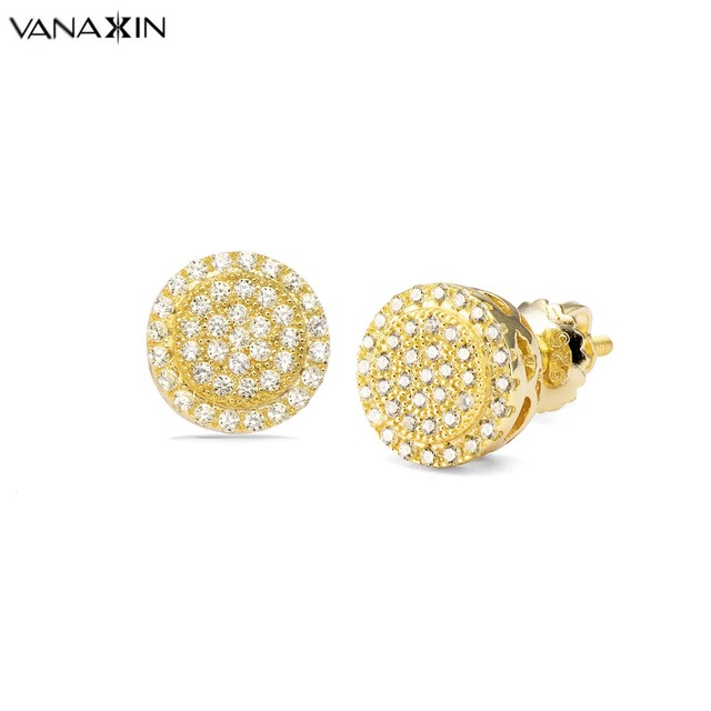 VANAXIN Charms Stud Earrings Gold Color AAA Light Yellow Cubic Zirconia  Earrings Round Trendy Screwback Jewelry Box Wholesale 2d21f4753ba9