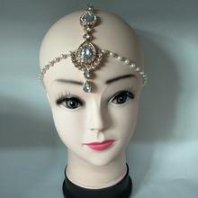 NEW Handmade Kundan pearl drop stones hair chain head chain wedding bridal head Jewelry