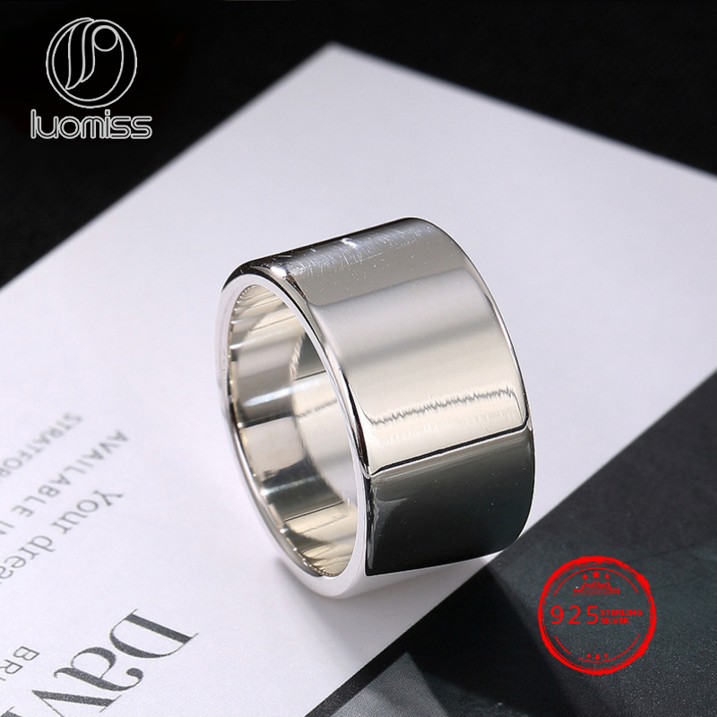 11mm Width S990 Sterling Silver Simple Ring Man Women Plain Thick Silver Adjustable Jewelry