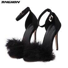TINGHON Women Summer High Heels Fur Sandals Super 11cm Heel Woolen Shoes Sweet Sandal