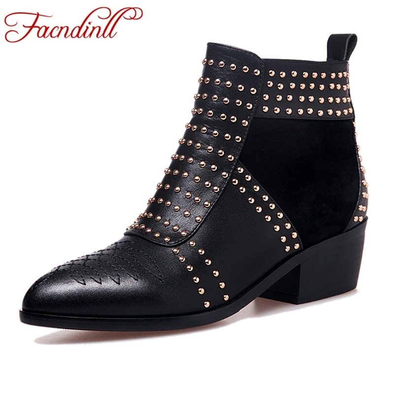 FACNDINLL big size 34-43 new fashion autumn winter women ankle boots black zipper med heel pointed toe dress casual riding boots
