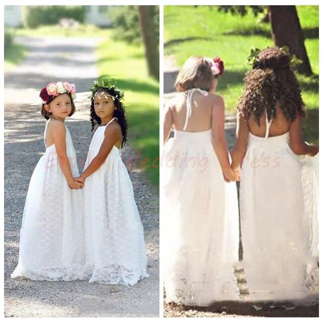 e916ec3ea1 Elegant Flower Girl Dress Boho Wedding Girl Gowns Ivory Lace Halter Neck  Bohemian Formal Kids Party Gowns Long Toddler Dress