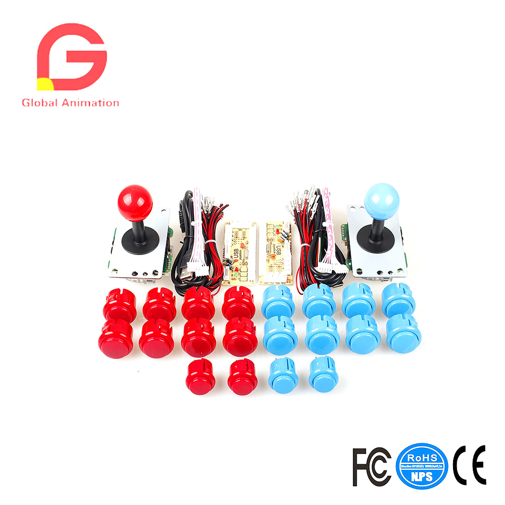 2 Player USB Controller To PC Game 2x 5Pin Stick + 4x 24mm Push Button + 16x 30mm Buttons For Arcade Games Red / Blue