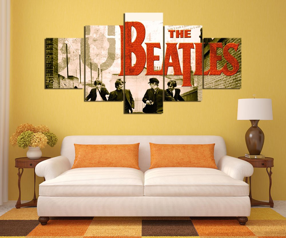 the beatles street canvas painting wall art 5 pieces prints artwork canvas wall art for living - Cheap Canvas Wall Art