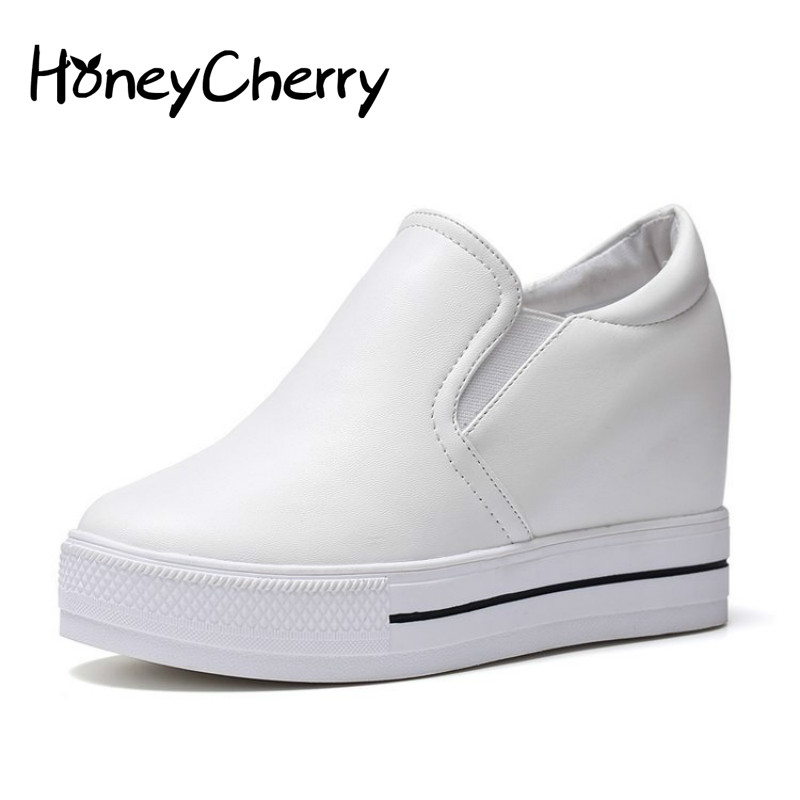 Spring Shoes 2018 New All-match Thick Sports Korean Students Increased White Platform Shoes Hidden Heel Shoes student shoes