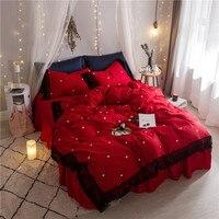 Корейский пододеяльник наборы королева размер Египетский хлопок, домашний текстиль девушки красное постельное белье кружева постельное б