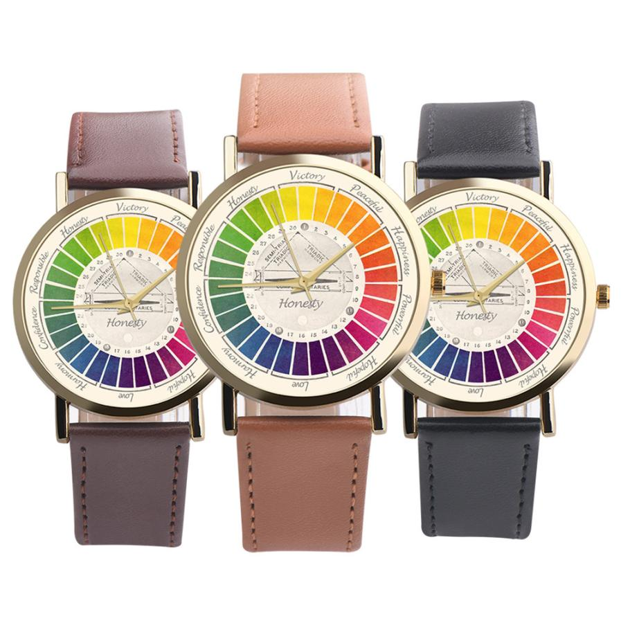On salling! Rainbow dial Womens Mens Casual Cute Colourful Leather Band Analog Alloy Quartz Wrist Watch xfcs Valentines giftOn salling! Rainbow dial Womens Mens Casual Cute Colourful Leather Band Analog Alloy Quartz Wrist Watch xfcs Valentines gift