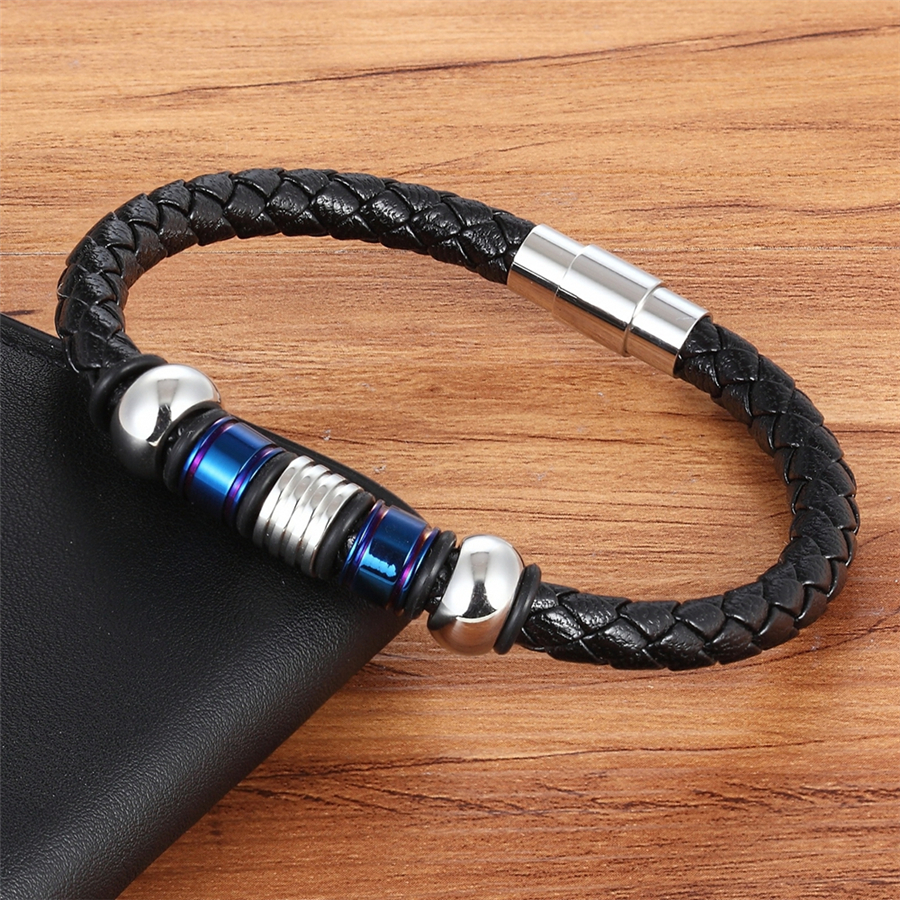 TYO Accessories Concatenation Geometric Pattern Rose Gold/Blue/Gold Color Genuine Leather Bracelet For Men Hand Jewelry For Gift