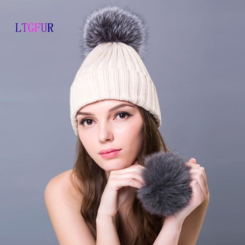 6ec4be6d66e LTGFUR rabbit fur hats for women winter real fur caps with fox fur ...