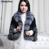 Europe and the United States fashion fur mink hair shawl large silver fox fur collar mink braided shawl