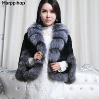 Europe and the United States fashion fur mink hair shawl large silver fox fur collar mink braided shawl