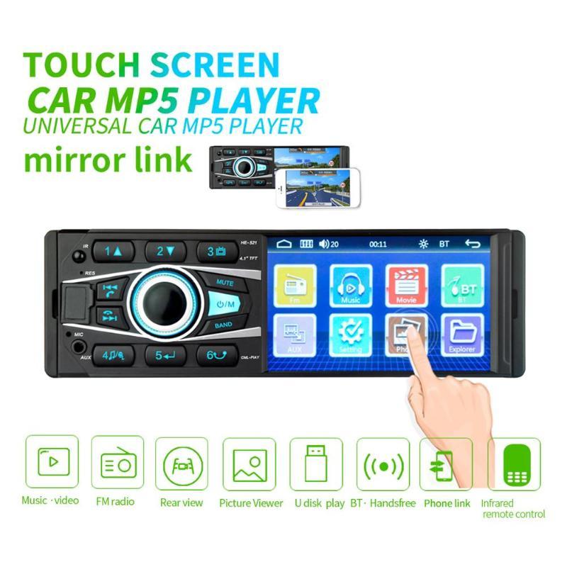 HE521 4.1 pouces unique DIN Bluetooth voiture AM FM Radio stéréo entrée AUX USB dans la tête de tableau de bord unité voiture MP5 lecteur avec Microphone