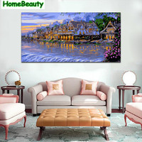 Home Beauty River Town 50 100 Diy Canvas Painting By Numbers Picture For Living Room Acrylic