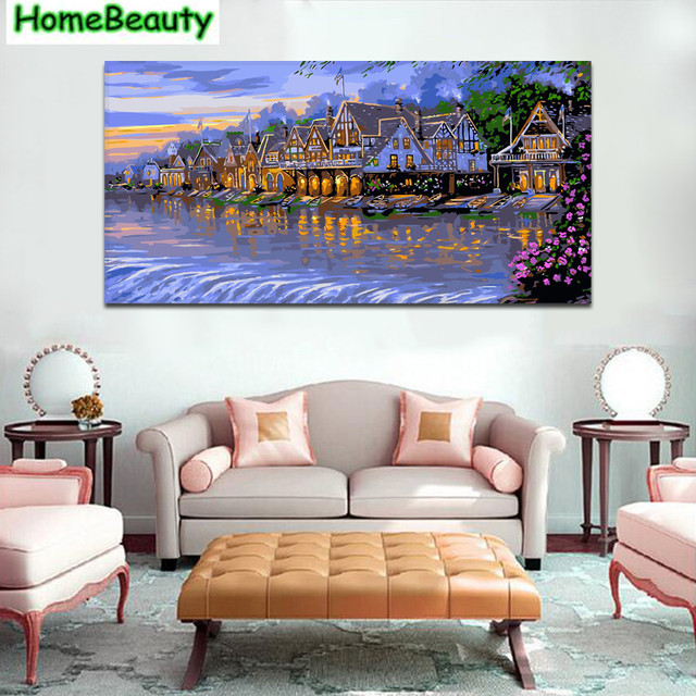 Diy Canvas Art For Living Room Colour Design Ideas Home Beauty River Town 50 100 Painting By Numbers Picture Acrylic Drawing Number Wallart Dy16