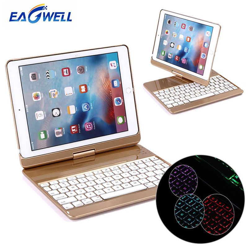 Eagwell Backlit Light Bluetooth Keyboard Case 360 Degree Rotating Tablet Keyboard Cover Case For iPad 9.7 2017 Pro 9.7 Air 1 2 wireless removable bluetooth keyboard case cover touchpad for lenovo miix 2 3 300 10 1 thinkpad tablet 1 2 10 ideapad miix