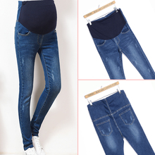Elastic Waist Maternity Jeans Pants for Pregnancy Clothes Autumn / Spring/Summer Women Hole demin girl trousers Plus Size(China)