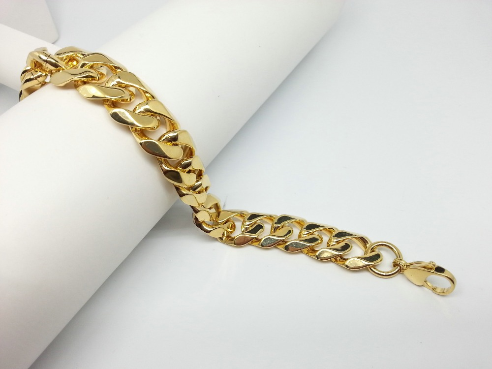 Wedding Mens Chain LInk Bracelets Round Indian Gold Plated 316L ...