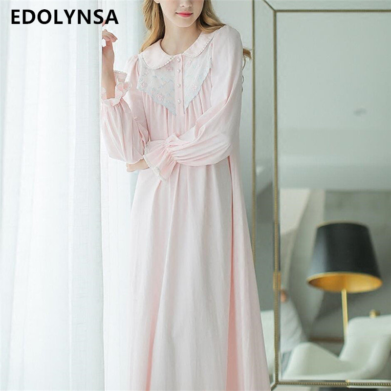 New Arrivals Long White Cotton Nightgowns Women Vintage Nightdress ...