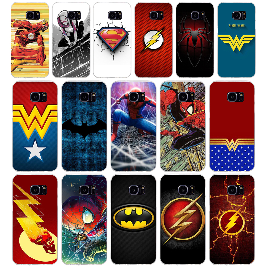 205A Batman Superman flash Wonder Frau Spiderman Weichen TPU Silikon Abdeckung Fall für <font><b>samsung</b></font> <font><b>Galaxy</b></font> <font><b>s6</b></font> <font><b>s6</b></font> s7 rand s8 s9 <font><b>plus</b></font> fall image