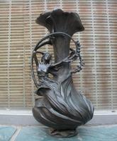 Western Pure Bronze Flower Fairy Girl Sculpture Pot Bottle Vase