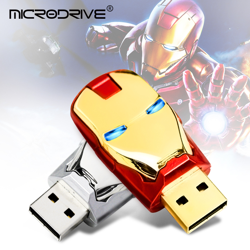 Real Capacity 4GB 8GB 16GB 32GB Pendrive IronMan 64GB 128GB USB Flash Drive Led Light Pen Drive External Storage High Speed