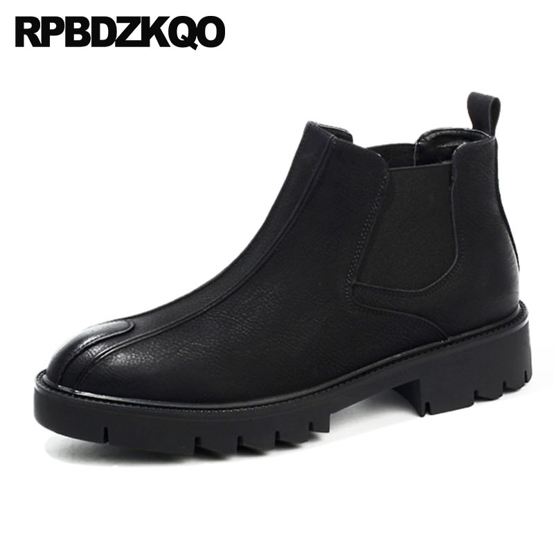 86d79d9a3c4de Chunky Chelsea Platform Black Fall Shoes Winter Men Boots With Fur 2018  Booties Ankle British Style Designer High Top Waterproof