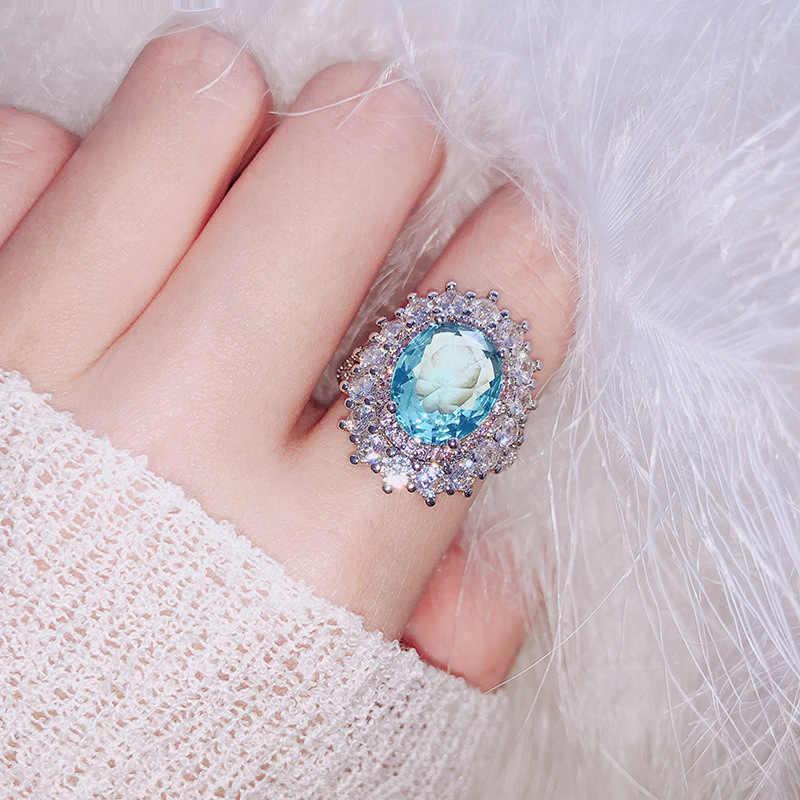 แฟชั่นสีชมพู Super Shiny แหวนคริสตัลโมเสคสีเขียว/สีฟ้าผู้หญิงสไตล์ Knuckle Finger แหวนเครื่องประดับหญิงเครื่องประดับ 6 10