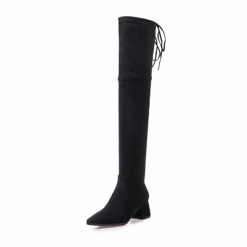 ASUMER/модные сапоги до бедра; женские Сапоги выше колена с острым носком, на молнии, с перекрестной шнуровкой; сапоги из искусственной замши на высоком каблуке; Цвет Черный