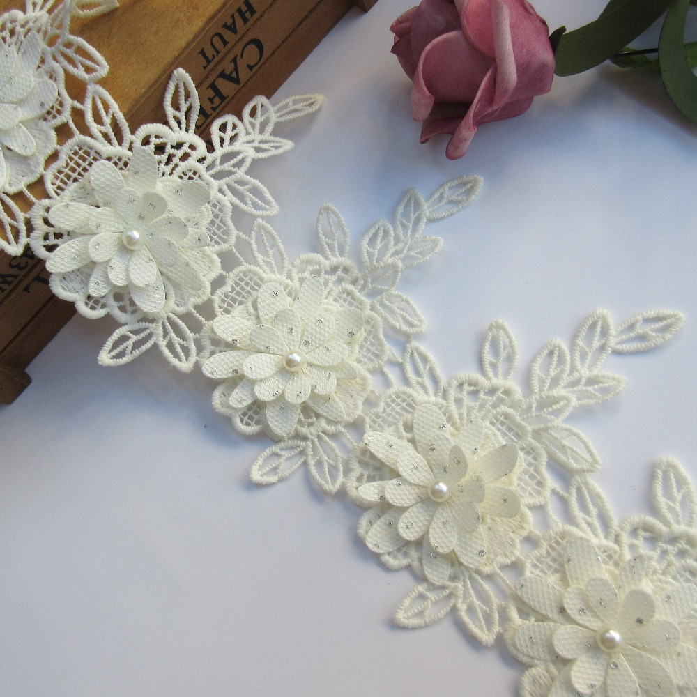 Floral 1 Qiuda 10pcs Flower Lace Edge Trim Ribbon with Pearl Beads Voile Flower 5 cm// 2 inch Vintage White Edging Trimming Fabric Embroidered Applique Sewing Craft Wedding Bridal Dress Decoration