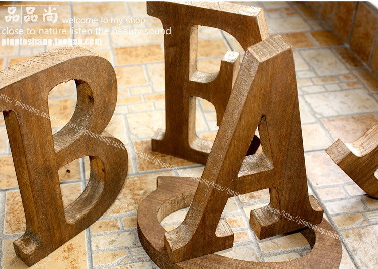Free shipping 4Piece  lot Vintage Retro Large Finishing Wooden     Free shipping 4Piece  lot Vintage Retro Large Finishing Wooden Letter Home  Decoration Props 23cm High A Z Standing Alphabet in Figurines   Miniatures  from