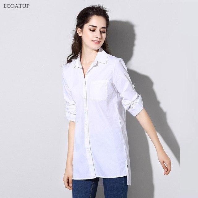 8a98632b8d5967 Women Blouse 2018 BF Boyfriend Style Casual Split Slit Hem Roll Up Sleeve  Big Plus Size White Cotton Tops Female Long Shirts