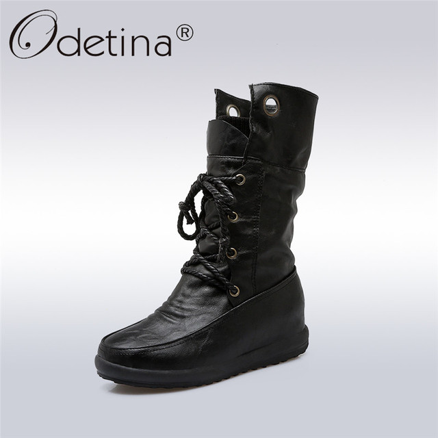 1f8daea5245 US $27.99 45% OFF Odetina 2018 New Fashion Platform Flat Mid Calf Boots  Rounded Toes for Women Lace Up Short Combat Boots Hidden Heel Plus Size  44-in ...